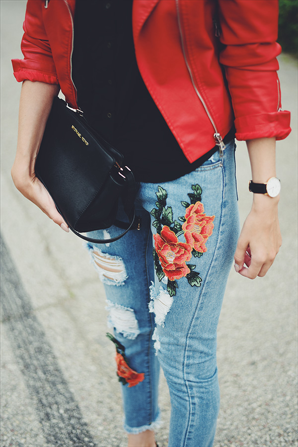 mariliis anger embellished jeans red leather jacket