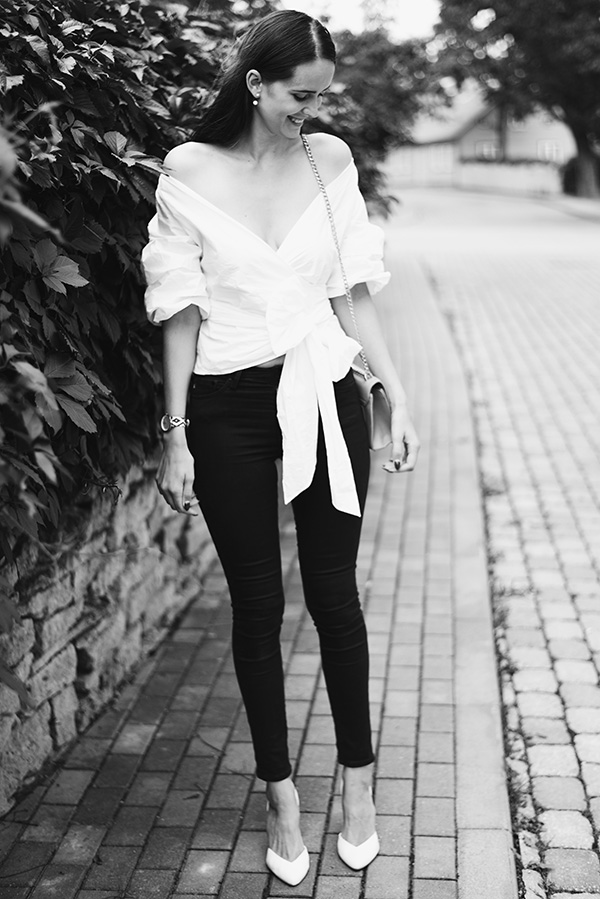 Outfit of the day - Shein white ruffle sleeve and bow blouse, H&M black jeans, New Look white shoes, baby pink Shein bag with gold details, Pieces pearl earrings, Rich Gone Broke Watch - Mariliis Anger