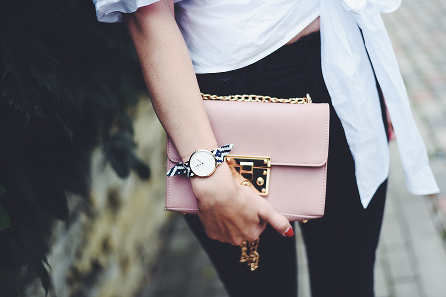 Shein white ruffle sleeve and bow blouse, H&M black jeans, New Look white shoes, baby pink Shein bag with gold details, Pieces pearl earrings, Rich Gone Broke Watch - Mariliis Anger