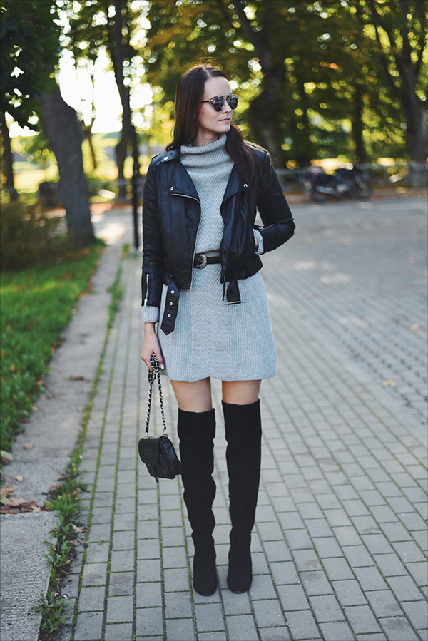 over knee boots sweater dress fall outfit Mariliis Anger