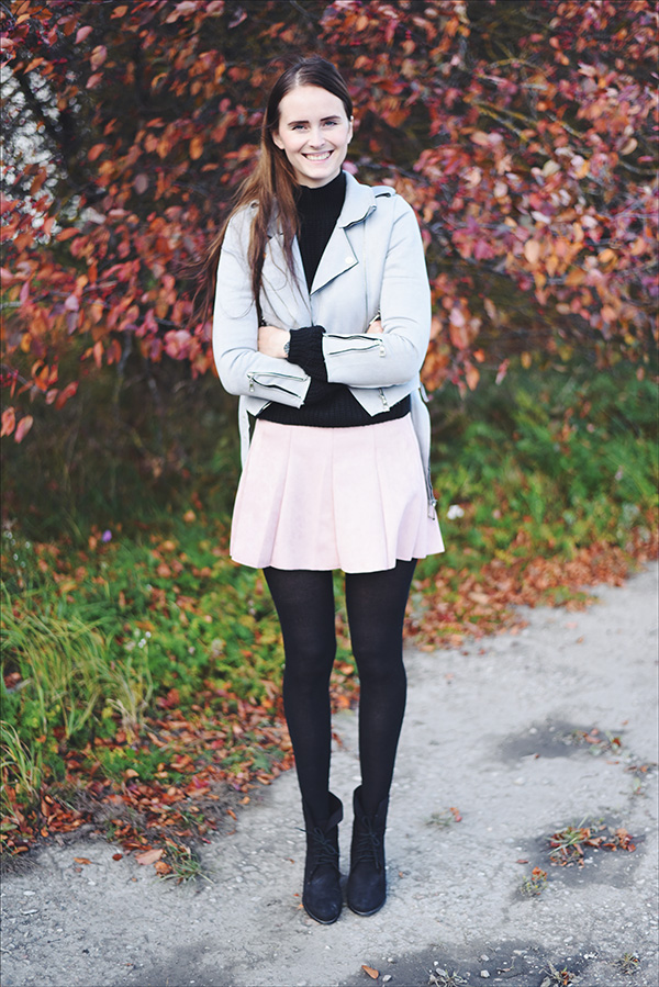 Pink suede skirt, grey suede jacket, black sweater, fall outfit - Mariliis Anger