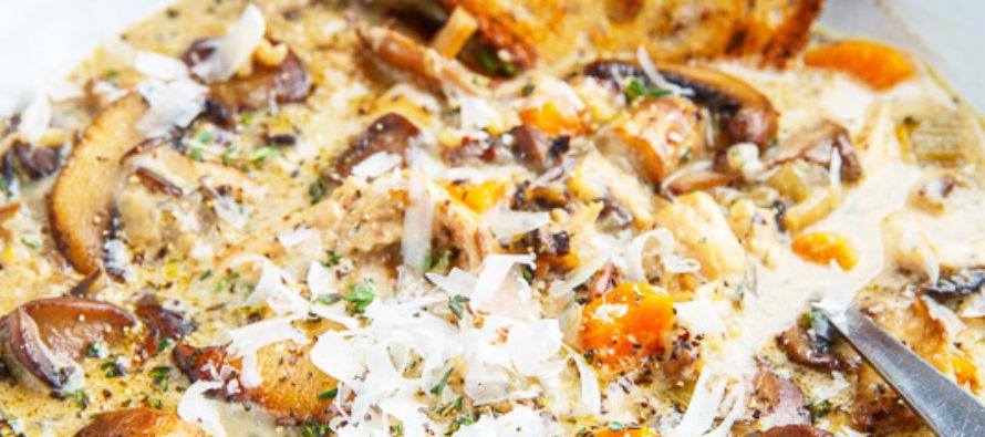 Idee õhtusöögiks – kreemine seenesupp kana ja riisiga